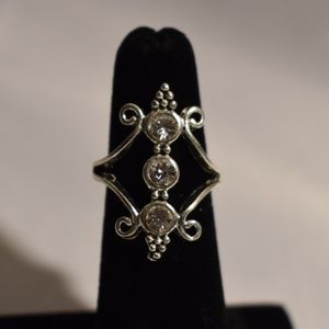 Silver Victorian CZ Dinner Ring